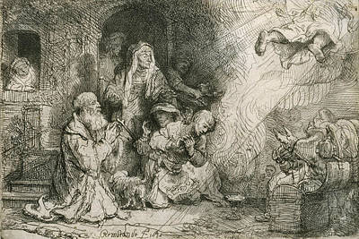 The Angel Departing From The Family Of Tobias Print by Rembrandt
