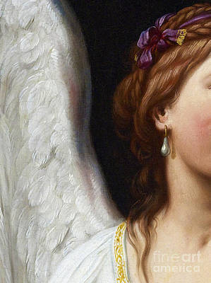 Restore Painting - The Angel With The Pearl Earring Closeup by Tina Lavoie