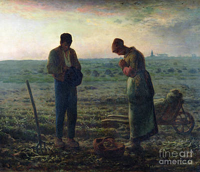 Land Painting - The Angelus by Jean-Francois Millet
