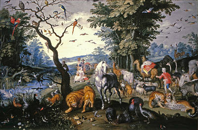 Noah Painting - The Animals Entering Noah's Ark by Jan Brueghel the Younger