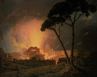 Italian Landscapes Painting - The Annual Girandola At The Castel Sant'angelo, Rome by Joseph Wright