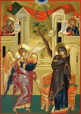 Byzantine Icon Painting - The Annunciation by Daniel Neculae