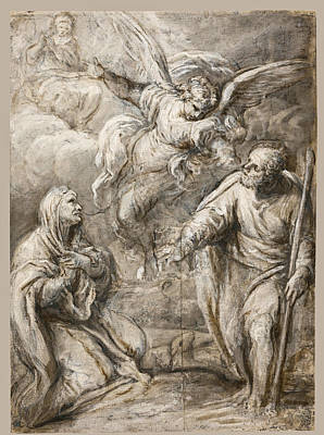 Drawing - The Annunciation To Joachim And Anna by Lazzaro Baldi