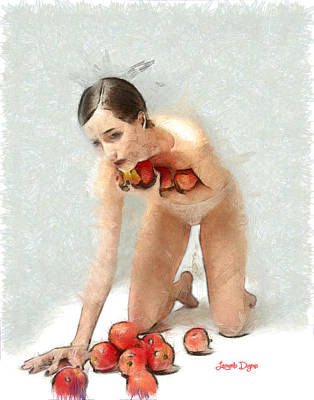 Red Hair Painting - The Apples Keeper - Da by Leonardo Digenio