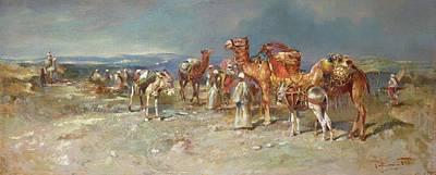 Camel Painting - The Arab Caravan   by Italian School