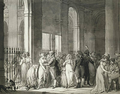 The Arcades At The Palais Royal Print by Louis Leopold Boilly