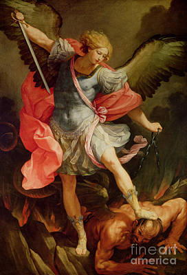 Oil Painting - The Archangel Michael Defeating Satan by Guido Reni