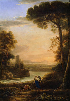 Biblical Painting - The Archangel Raphael And Tobias by Claude Lorrain
