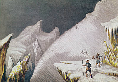 Explorer Drawing - The Arrival At The Summit  The Ascent Of Mont Blanc  by George Baxter