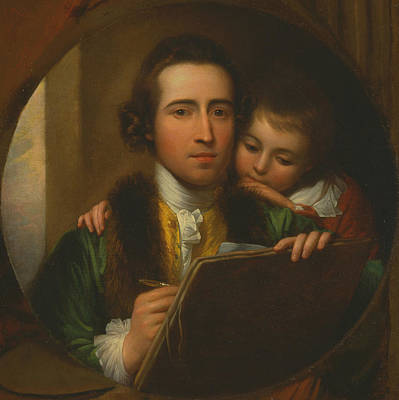 18th Century Painting - The Artist And His Son Raphael by Benjamin West