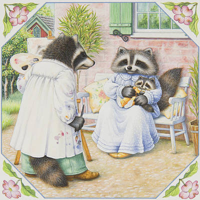 Raccoon Painting - The Artist by Lynn Bywaters