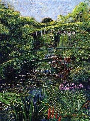 Footbridge Painting - The Artist's Garden by David Lloyd Glover