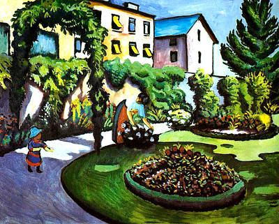 Bed Painting - The Artists Garden In Bonn by August Macke