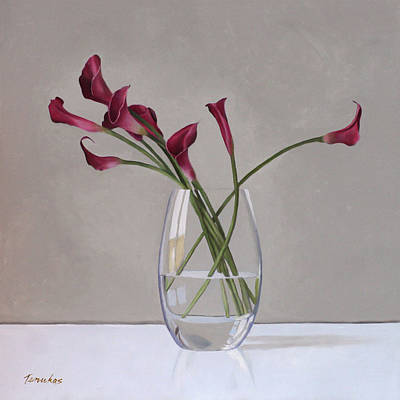 Lilies Painting - The Artists Life by Linda Tenukas