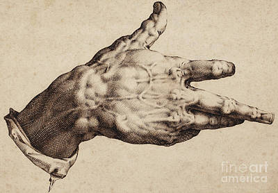 The Artist's Right Hand Print by Hendrik Goltzius