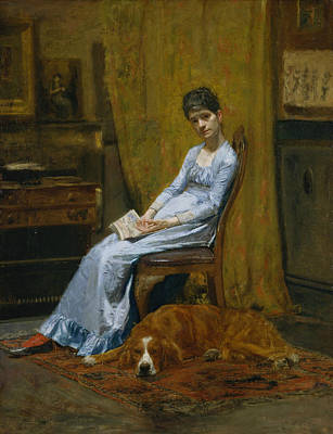 The Artist's Wife And His Setter Dog Print by Thomas Eakins