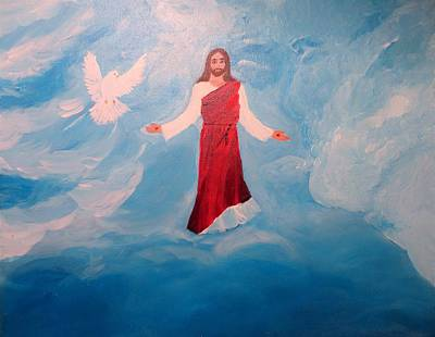 The Ascension Of Jesus - The Trinity - God The Father, God The Son, God The Holy Spirit Original by Rosie Foshee