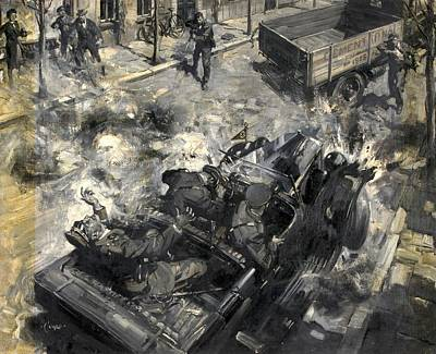 Nazi Painting - The Assassination Of Reinhard Heydrich by Mountain Dreams