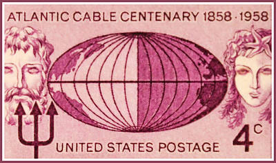 The Atlantic Cable Centennial Stamp Original by Lanjee Chee