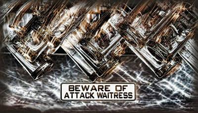 The Attack Waitress  Print by Joan  Minchak