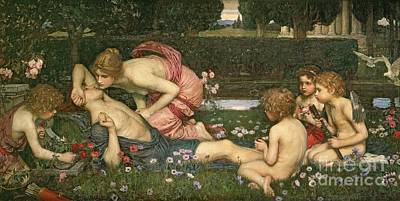 Awake Painting - The Awakening Of Adonis by John William Waterhouse