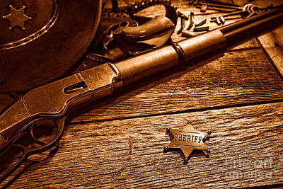 Old Western Photograph - The Badge - Sepia by Olivier Le Queinec