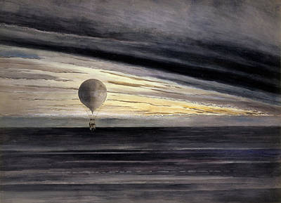 Hot Air Painting - The Balloon, Zenith, During A Long Distance Flight From Paris To Bordeaux  by French School