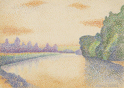 Pointillist Painting - The Banks Of The Marne At Dawn by Albert Dubois-Pillet