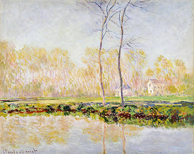 The Banks Of The River Epte At Giverny Print by Claude Monet