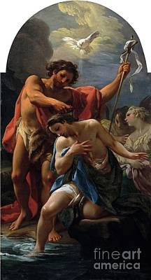 Baptism Painting - The Baptism Of Christ by Corrado Giaquinto