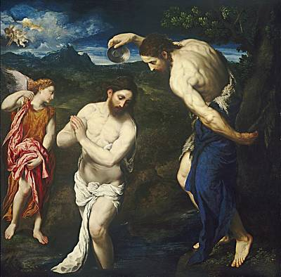Born Again Painting - The Baptism Of Christ by Paris Bordone