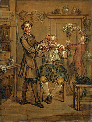 Marcellus Laroon The Younger Painting - The Barber by Marcellus Laroon the Younger
