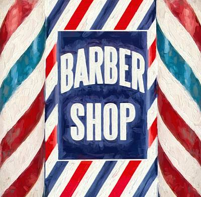 S Pole Painting - The Barber Shop by Dan Sproul