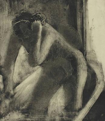 Hair-washing Drawing - The Bath by Edgar Degas
