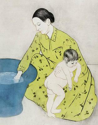 Nude Children Drawing - The Bath by Mary Stevenson Cassatt