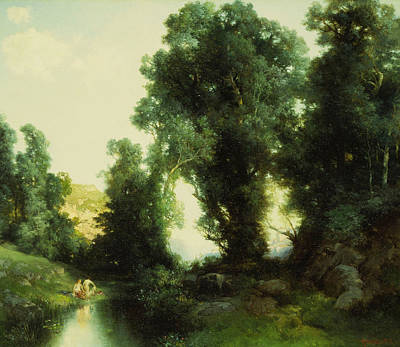 Outdoor Nude Painting - The Bathing Hole by Thomas Moran