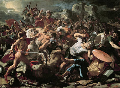 Shield Painting - The Battle by Nicolas Poussin