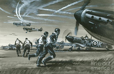 Spitfire Painting - The Battle Of Britain by Wilf Hardy