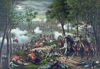 The Battle Of Chancellorsville Print by American School