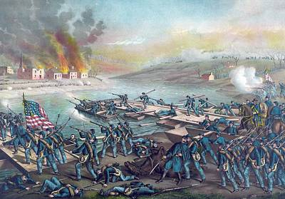 The Battle Of Fredericksburg Print by American School