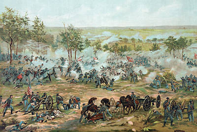 Horses Drawing - The Battle Of Gettysburg by Paul Dominique Philippoteaux