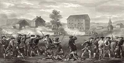 Lexington Drawing - The Battle Of Lexington April 19 1775 by Vintage Design Pics
