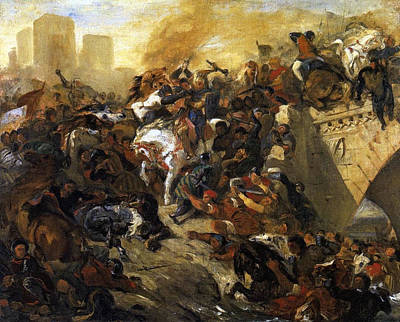 War Painting - The Battle Of Taillebourg, Draft by Eugene Delacroix