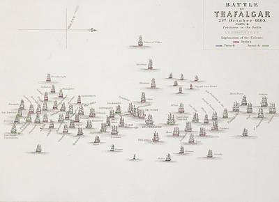 Royal Navy Drawing - The Battle Of Trafalgar by Alexander Keith Johnston