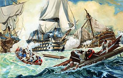 The Battle Of Trafalgar Print by English School