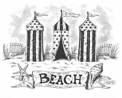 Paper Images Drawing - The Beach by Adam Zebediah Joseph