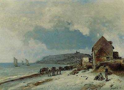 Boat On Beach Painting - The Beach At Sainte Adresse by Johan-Barthold Jongkind