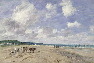 Sailing Ship On Ocean Painting - The Beach At Tourgeville by Eugene Louis Boudin