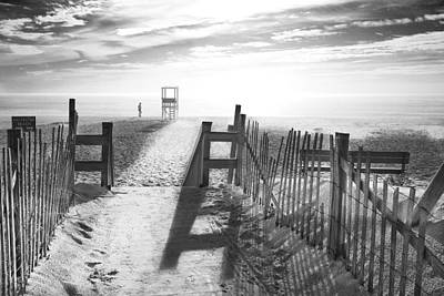 Sand Fences Digital Art - The Beach In Black And White by Dapixara Art