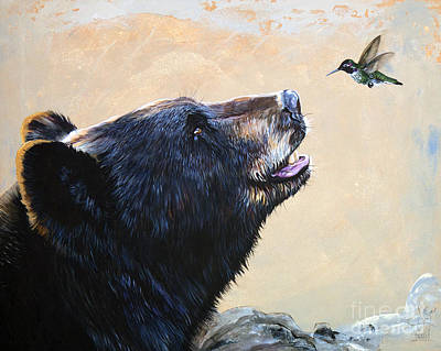 Bear Painting - The Bear And The Hummingbird by J W Baker